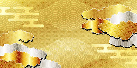 Japanese pattern New Year's card gold background 矢量图像