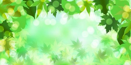 Fresh green maple Japanese paper background Illusztráció