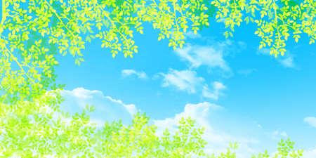 Fresh green leaves spring background Illustration