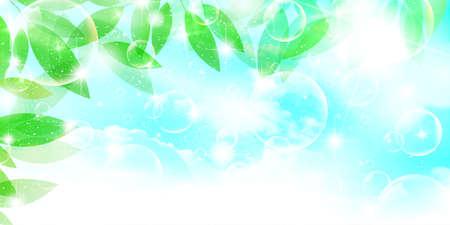 Fresh green leaves spring background Vector Illustratie