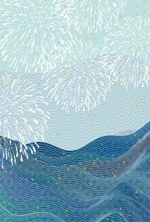 Fireworks wave sea Japanese pattern background Vektoros illusztráció