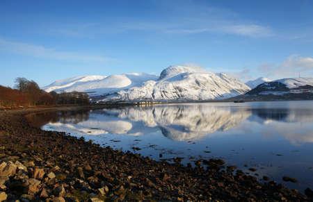 scotland landscape: Ben Nevis,highest Mountain in the UK in winter.