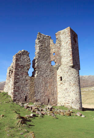 Ardvreck Castle ruins in the Highlands of Scotland.  photo