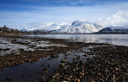 highland: Ben Nevis,highest mountain in the UK,from Corpach.