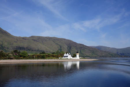 narrows: Ardgour Lighthouse at Corran Narrows in the Scottish Highlands.