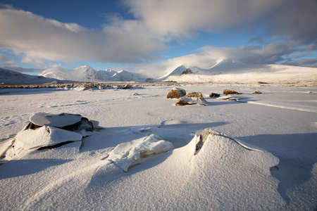black moor: Winter landscape on Rannoch Moor in the Scottish Highlands.