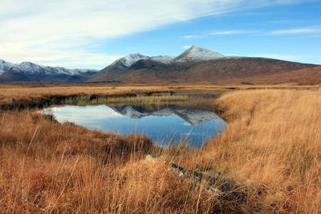 black moor: Snow capped Black Mount on Rannoch Moor in the Scottish Highlands.