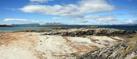 isles: Panorama,Isles of Eigg and Rum from Arisaig.