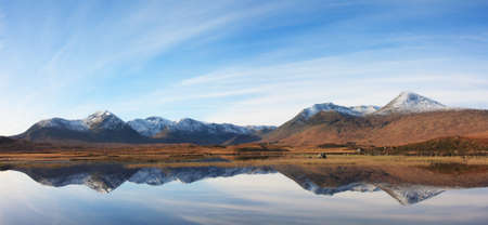 black moor: Panorama of Rannoch Moor and the Black Mount.