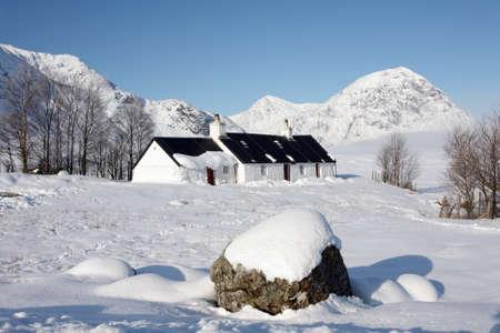 glencoe: Spring snow in Glencoe. Stock Photo