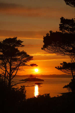 scots: Sunset in the Scottish Highlands. Stock Photo