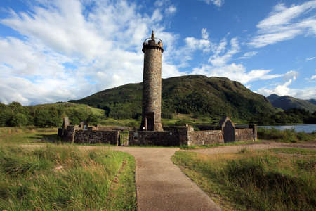 jacobite: Prince Charlies monument at Glenfinnan in the Scottish Highlands. Stock Photo