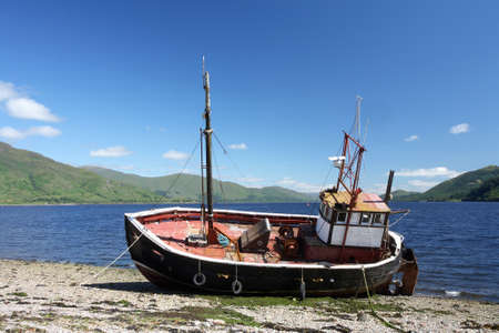 beached: Old abandoned fishing boat.