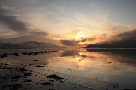 loch: Winter sunset over Loch Linnhe   Stock Photo