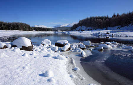 ice dam: Winter landscape at Loch Laggan in winter situated in Lochaber in the Scottish Highlands. Stock Photo