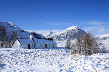glencoe: Black Rock Cottage in Glencoe   Stock Photo