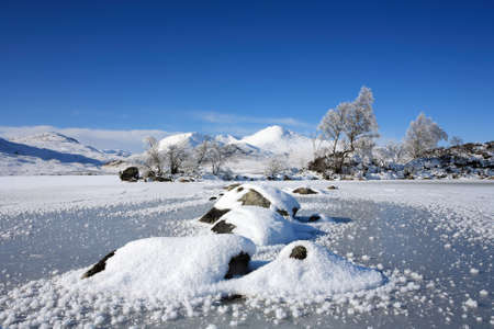 snowscene: A frozen Lochan na h Achlaise on Rannoch Moor
