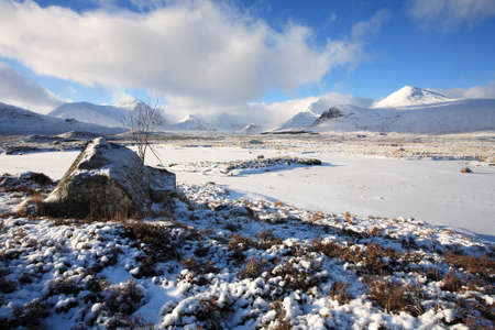 black moor: Winter landscape on Rannoch Moor in the Scottish Highlands