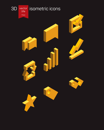 3d icons: Isometric icon of gold on a dark background. Stylized 3D icons for web and mobile devices.