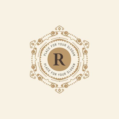 The letter R. Flourishes calligraphic monogram emblem template. Luxury elegant frame ornament line design vector illustration. Example designs for Cafe, Hotel, Heraldic, Restaurant, Boutique