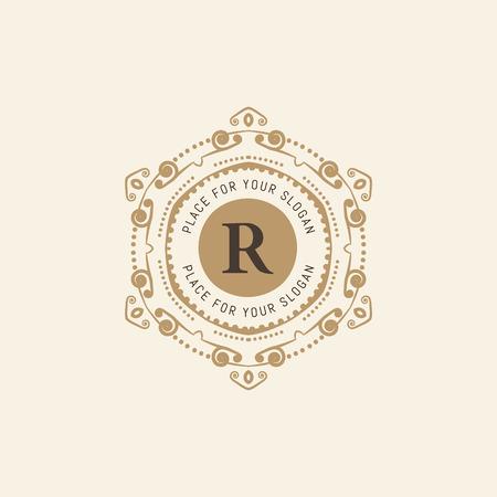 r fine: The letter R. Flourishes calligraphic monogram emblem template. Luxury elegant frame ornament line design vector illustration. Example designs for Cafe, Hotel, Heraldic, Restaurant, Boutique