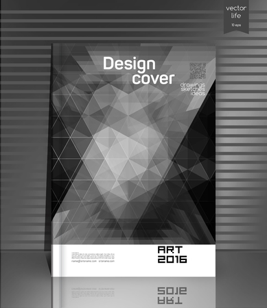 text free space: Cover design. The modern concept of cover design in the polygonal style. Photorealistic image covers for books, notebooks, annual report. The optimum combination of graphics, text free space