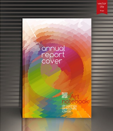report cover: Annual report cover. Creative cover. The effect of bright light. Annual report cover for the companys environmental, energy, and environmental organizations. Vivid Parallel lines forming picturesque texture. Vector cover design