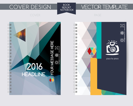 background cover: Cover and page of the annual report. Book cover design isolated over colorful background. Vector covers for books, notebooks, annual report