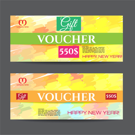 contact information: Gift voucher place for text, logo, contact information. The combination of graphic elements with typography. Example designs for cafe, hotel, stores, promotions, advertising. Stock Photo