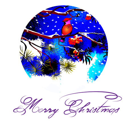 Christmas greeting card. Birds on branches in the winter forest. Christmas, frosty night. Stylish graphics with space for text.