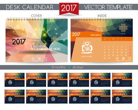 desk calendar: Design Desk Calendar 2017. Vector Templates all months Illustration