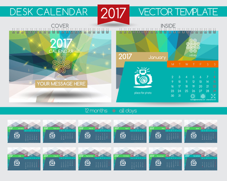Design Desk Calendar 2017. Vector Templates all months Illustration