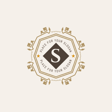 refined: The letter S made in modern line style vector. Luxury elegant frame ornament and ethnic tribal elements.