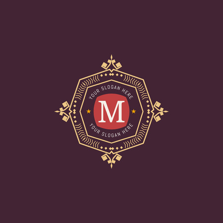 m hotel: The letter M made in modern line style vector. Luxury elegant frame ornament and ethnic tribal elements. Example designs for Cafe, Hotel, Jewelry, Fashion, Restaurant