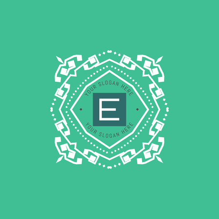 The letter E made in modern line style vector. Luxury elegant frame ornament and ethnic tribal elements. Example designs for Cafe, Hotel, Jewelry, Fashion, Restaurant  イラスト・ベクター素材