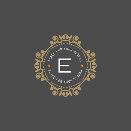 The letter E made in modern line style vector. Luxury elegant frame ornament and ethnic tribal elements.  イラスト・ベクター素材