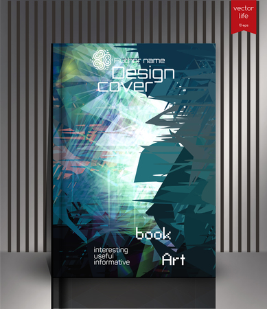 notebook cover: Cover design for Annual Report, Catalog or Magazine, Book or Brochure, Booklet or flyer. Layout template in A4 with triangular elements. Creative concept in bright colors.