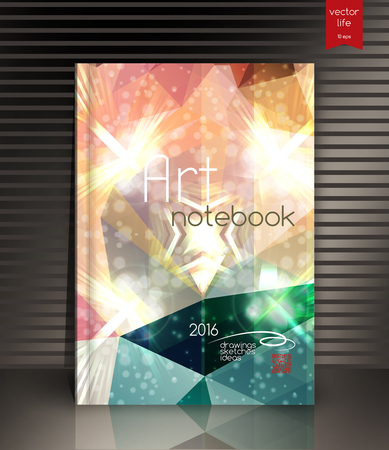 notebook cover: Cover with a polygonal texture and typography. The modern concept of the cover in trendy colors. Illustration