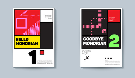 Trendy covers design. Colorful modernism. Minimal geometric shapes composition.Concept design in the Dutch style of the 30s Illustration