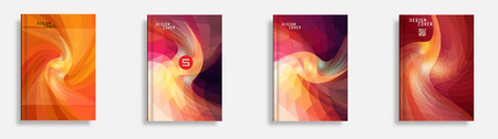 multiply: Annual report set for business brochure. Colorful vector covers with titles, graphics and space for text. Annual report design template, flyer vector, leaflet cover layout. Abstract background. Illustration