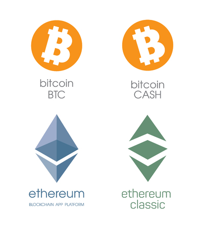 decentralization: bitcoin and bitcoin cashe. Ethereum cripto currency chrystal icon. Blockchain platform . Sign Ethereum classic currencies. Symbol of smart technologies. Decentralized computer networks