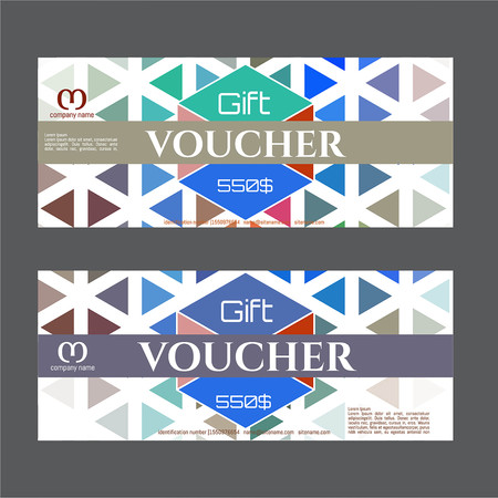 certificate template: Vector illustration, Gift voucher template with colorful pattern. Discount coupon for business. Illustration