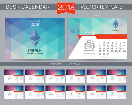 event planner: Calendar 2017. Design Desk Calendar 2017. Organizer for business. Vector Templates all months. New Year Calendar Template. Cryptocurrency logo Illustration