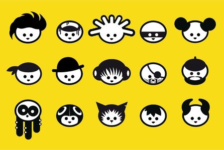 interesting music: Cartoon faces Illustration