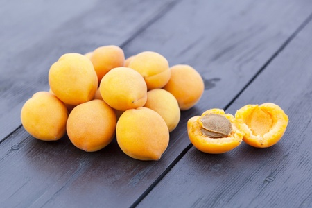 Fresh apricots on a table. Taste of summer.