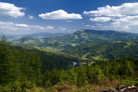 Beautiful polish mountains Beskidy  Summer landscape  Stock Photo