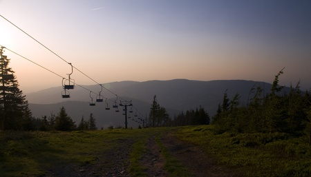 Cable car in beautiful polish mountains Beskidy  Summer landscape  Stock Photo