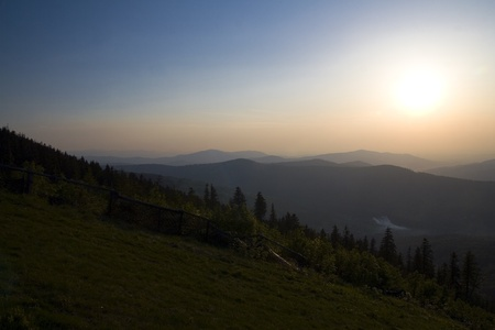 Beautiful polish mountains Beskidy during sunset  Summer landscape