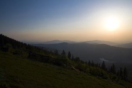 Beautiful polish mountains Beskidy during sunset  Summer landscape