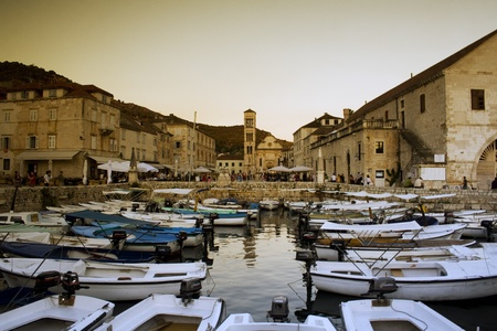 Beautiful architecture of Hvar island in Croatia  Summer holiday